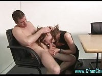Office whore having oral sex on desk